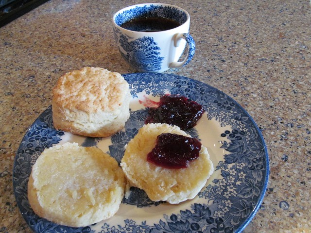 Ahhh!  The best way to start a morning!  Hot biscuits with fresh blackberry jam AND coffee, hazelnut!