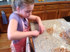 Pecans are best chopped by hand, one at a time.