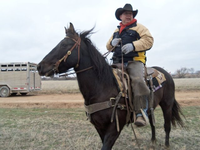 Mike the Cowboy riding out to check cattle. Photo from Pat Mones