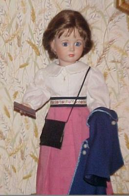 Our first Christy doll was hand-poured and painted by a local lady.  I drew up the outfit as worn by Kellie Martin in the first scenes of the TV pilot.  Mother did the hard work..sewing it up! Well, the specially ordered wig took some time to style in the 1900 fashion!