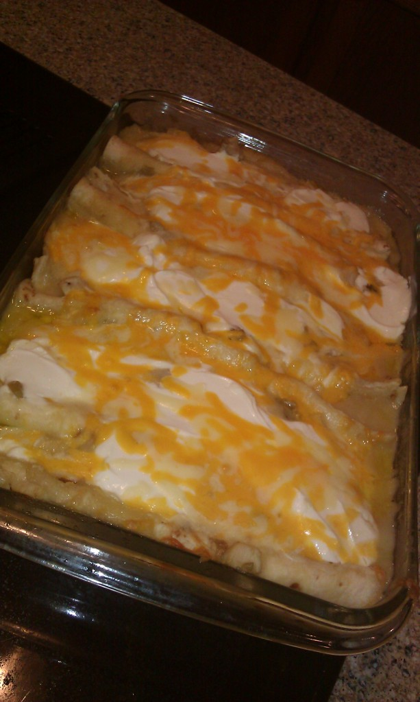 My version of Sour Cream Enchiladas, only I forgot to add the sour cream to the cooked mixture so had to spread it on top. Flexibilty is my middle name. :)