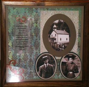 A gift page presented to Peter John Marshall, Catherine Marshall's son featuring Catherine's parent, Leonora and John Woods and the mission church/school.