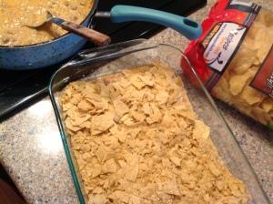 1 layer of meat mixture, 1 layer of Doritos