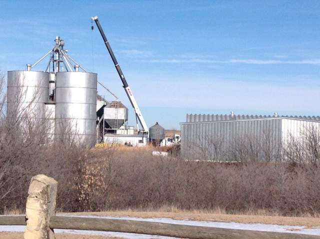 The feedlot grain mill and elevator.