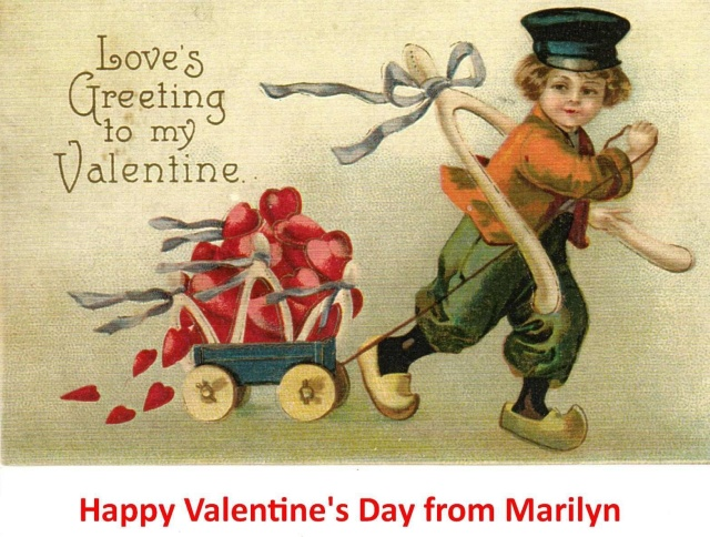 "This valentine was posted on Facebook this morning by a ""Christy"" friend, Marilyn.  Looks like the little Dutch boy is off to see our little Dutch girl?! Photo by Marilyn Mitchem"