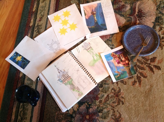 Breakfast on the rug while watching FOX News and going over sketches and printouts.