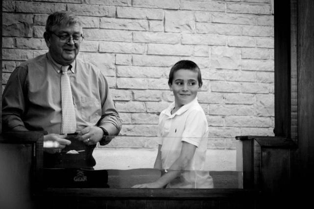 Pastor Carl and Garrett ready for the baptising!!