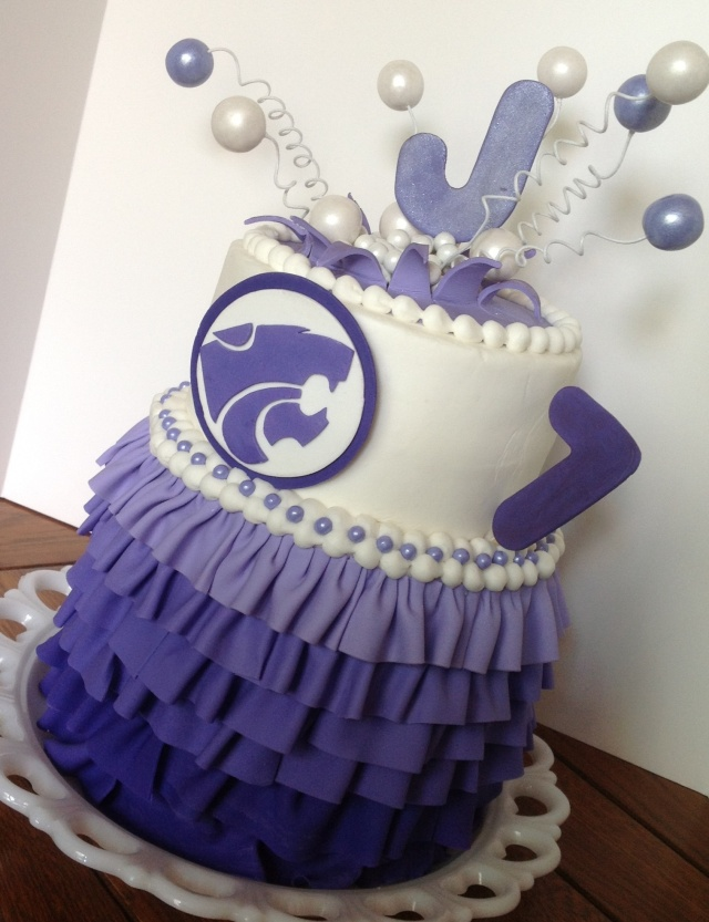 Purple Kansas State ruffle birthday cake