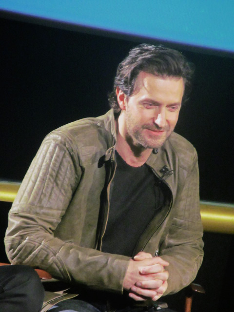 Richard Armitage watching the monitor while New Zealand cues in.