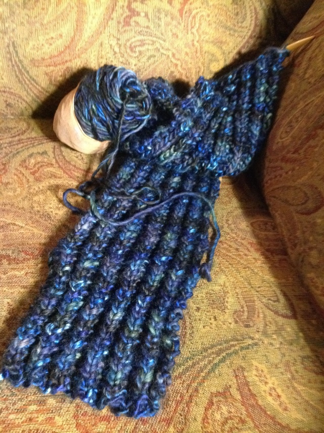 Bluebonnet scarf that may or may not be given to someone.  Yarn is Borealis by Berroco, 60% acrylic, 40% wool.  I love this stuff!!