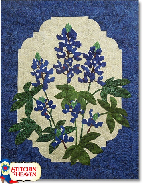 From the Stichin' Heaven website , Cleo's Bluebonnet, an applique quilt kit.