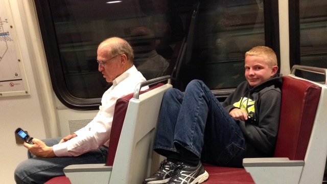 relaxing in the metro