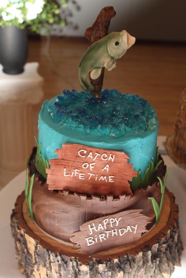 groom's cake jumping gumpaste fish