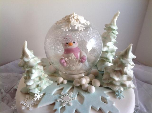 snowglobe snowgirl snowflake winter birthday cake