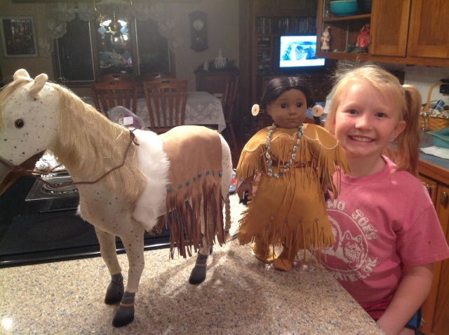Kaya and her horse who-has-no-name's saddle blanket