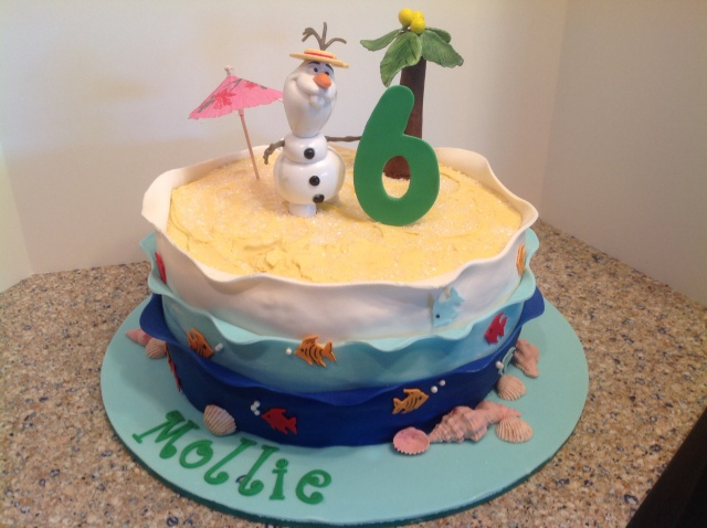 Olaf in the Summer Frozen birthday cake
