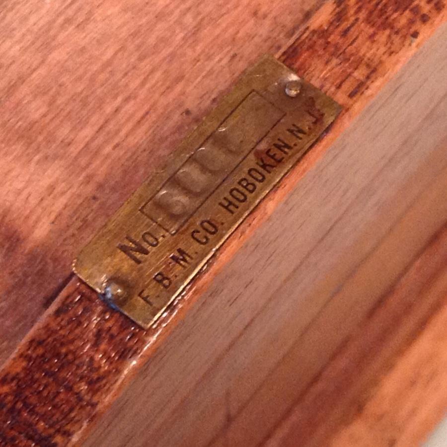 brass label on antique FB Co walnut humidor