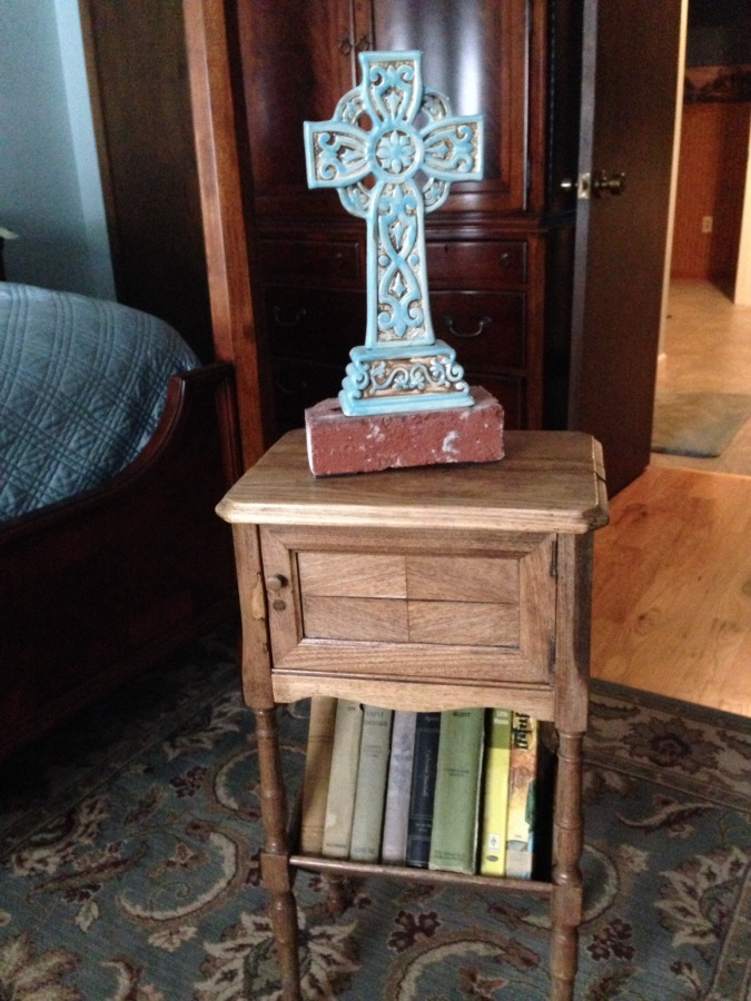 Antique Ferguson Brothers Co. walnut tobacco stand humidor