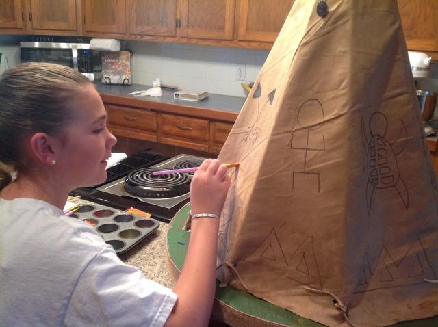 painting Kaya's tipi
