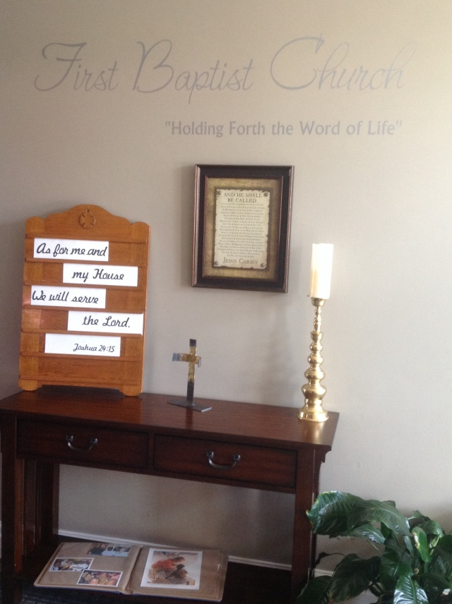church foyer, antique attendance board, scripture art