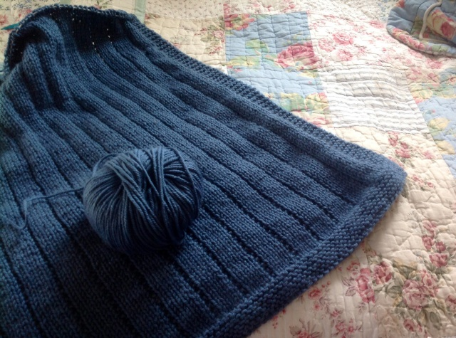 The new blankie using Debbie Bliss Cashmerino, denim. Love love love it!