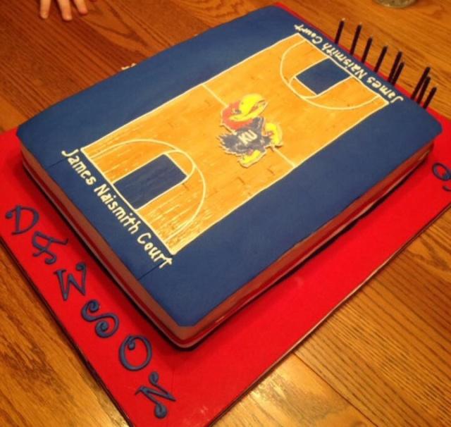KU basketball court cake, Jayhawk