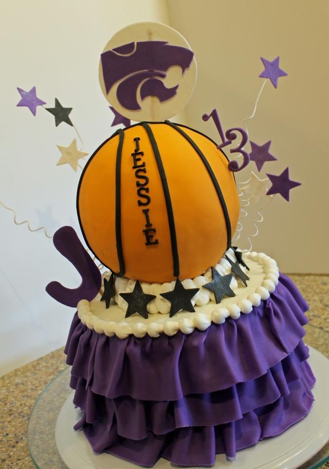 basketball cake, fondant ruffles, PowerCat, KSU